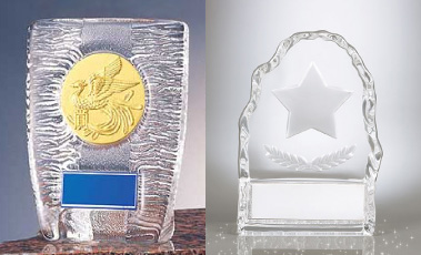 クリスタルガラス製、既製品ガラス楯